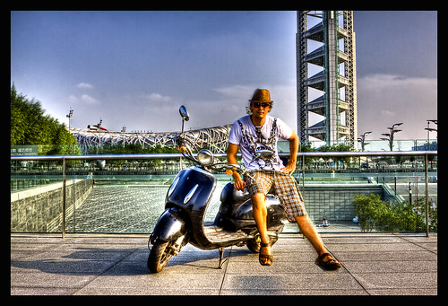 3984601965 98db2f3b69 My Motorbike and I HDR with Birds Nest Stadium in the Back