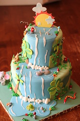 Jungle cake (Andrea's SweetCakes) Tags: flowers sun elephant leaves clouds monkey waterfall rocks snake parrot frog birthdaycake jungle palmtree hippo coconuts toadstools