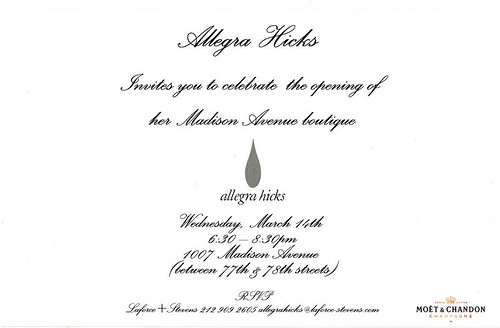Allegra Hicks party invitation Manhattan 2007