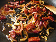 Onions and chorizo