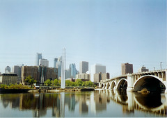 Minneapolis about 1996 (Stuff about Minneapolis) Tags: city bridge urban minnesota skyline architecture river downtown minneapolis mississippiriver twincities hennepin