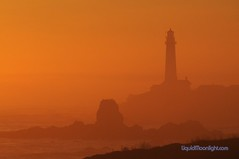Sunset At Pigeon Point Lighthouse - California Coast (Darvin Atkeson) Tags: ocean sunset sea orange usa lighthouse silhouette fog america landscape us haze pacific pigeonpoint  darvin   atkeson  darv   liquidmoonlightcom liquidmoonlight
