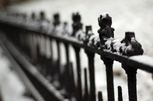 iron rail with snow