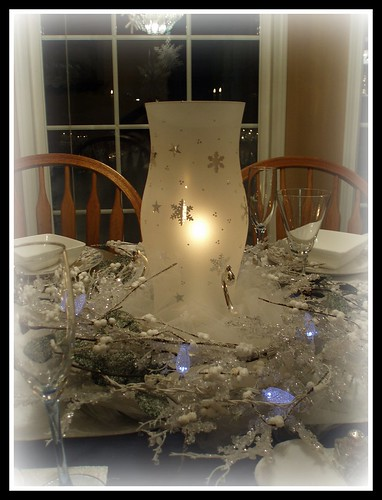Snowflake Hurricane Shade Centerpiece