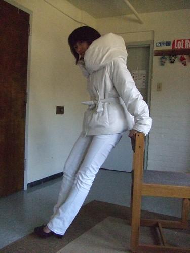 White puffer coat, BCBG Max Azria; White jeans, Clef de Sol (JPN); Brown Loafer heels, Marc Fischer