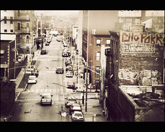 I  NY (manlio_k) Tags: road street old usa cinema newyork cars film brooklyn america canon vintage buildings movie scene 70s manlio eos50 manliocastagna manliok