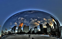 Containing the Sky (papalars) Tags: blue sky chicago reflection skyline architecture clouds reflections alien bean best cloudgate thebean digitalrebelxt millenialpark dabean colorphotoaward papalars a3b andrewelarsen