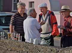 Coffee and Beer at Kinsale Waterfront (Winfried Veil) Tags: ireland irish men beer coffee hat seaside veil waterfront kaffee irland hut kinsale bier poloshirt winfried mnner oldmen greyhair altemnner mobilew winfriedveil
