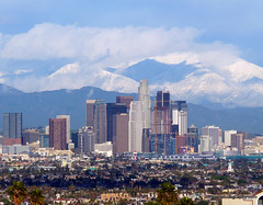 Downtown Los Angeles Snow Capped Mountains (casual clicks) Tags: losangeles losangelesskyline snowcappedmountains downtownlosangeles laskyline jefflowephotographycom httpjeffloweartistwebsitescom