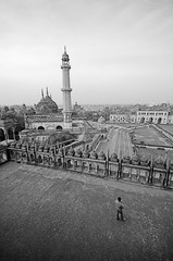 The Asafi Masjid and the Rumi Darwaza in the background (Shubh M Singh) Tags: india monochrome architecture nikon alone peace minaret muslim islam mosque uttarpradesh d40 asafi badaimambada rumidarwaza