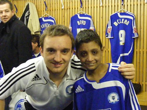 Asim and goalscorer Charlie Lee