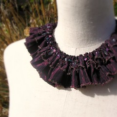 Opera Ruffled Collar with hydrangea stems (fancypicnic) Tags: necklace noir gothic taffeta collar elizabethan ruff beaded ruffle textilejewellery