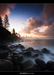 Misty ([ Kane ]) Tags: city longexposure mist wet water misty clouds gold coast rocks dusk australia explore qld kane tweed goldcoast gledhill burleighheads goldcollection kanegledhill humanhabits kanegledhillphotography