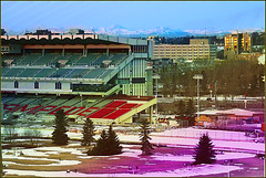 Home of the Calgary Stampede (active metabolite) Tags: city mountain colour calgary gradient stampede