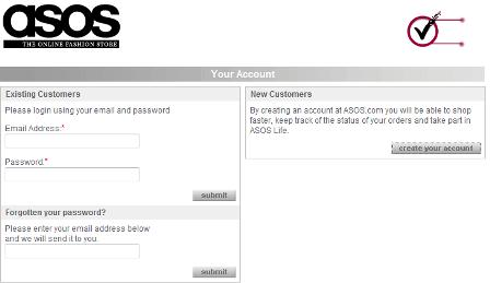ASOS register before checkout