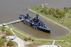 Battleship Texas (baldheretic) Tags: port flying downtown houston aerialphotography shipchannel houstonist