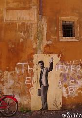 Pasolini (ilda) Tags: street italy rome roma art up painting pier stencil italia paolo drawing paste pasolini campodeifiori zilda palazzoricci ilda iosonounaforzadelpassato