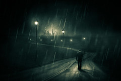 Road To Dark City (Dylan-K) Tags: road city light shadow man black hat silhouette skyline photoshop dark walking noir glow moody darkness post dream figure mysterious shroud towards