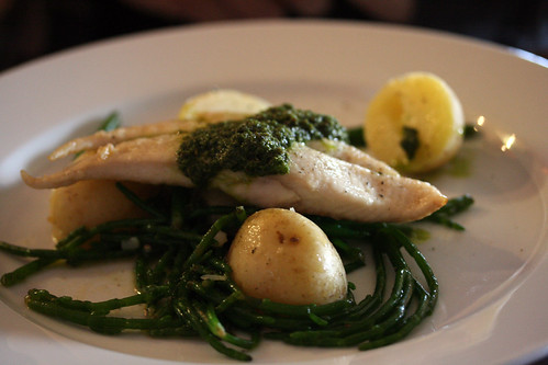 Sea bass and samphire