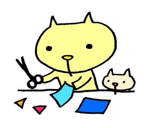 折り紙を切るむー