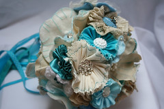 Heather's Bridal Bouquet (vintage blue and ecru) (Doris Teal) Tags: flowers flower handmade embroidery buttons vintagefabric accessories bouquet weddings bridalbouquet vintagebuttons fabricflowers feltflower fabricbouquet