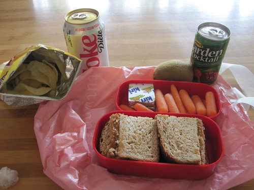 Chips and Diet Coke ($2.50), PB sandwich, carrots, kiri cheese, kiwi and garden cocktail