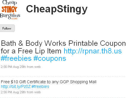Twitter follow coupons site