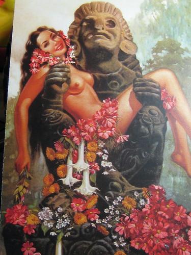 Vintage Mexican Postcard Aztec Nude C1945
