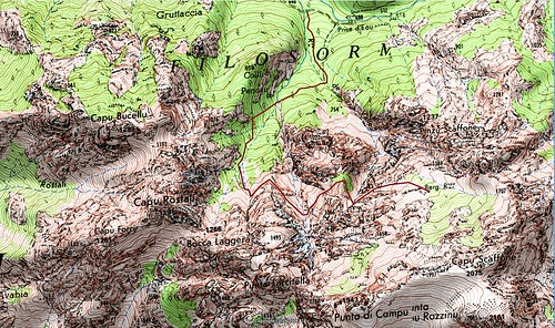 Carte du Filosorma avec le versant Scaffone et la Valle Serrata
