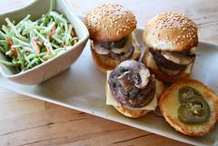 mini burgers (sevenworlds16) Tags: mushroom salad swiss mini broccoli burgers slaw 365 jalapeo project3661 2009yip 3652009
