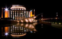 Nemzeti (realsaw) Tags: street longexposure light urban reflection art lamp night mirror photo hungary shot budapest architect national nemzeti sznhz palota