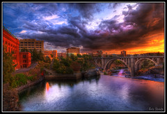 Sunset Over Spokane (Slappy Vandelay) Tags: sunset reflection clouds canon wow spokane dramatic tokina1224 september artsy hdr breathtaking spokaneriver cs4 monroestreetbridge 50d sunsetoverspokane oragnesky