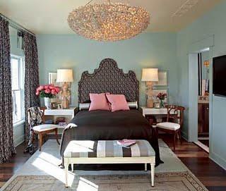 black pink and brown bedroom