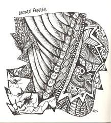 NFT-Broken Feather (molossus, who says Life Imitates Doodles) Tags: journal doodle zentangle zentangleinspiredart