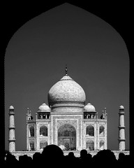 Taj Mahal from Door B&W (mercolino) Tags: door people india canon mahal agra mosque hdr taj mahaltaj