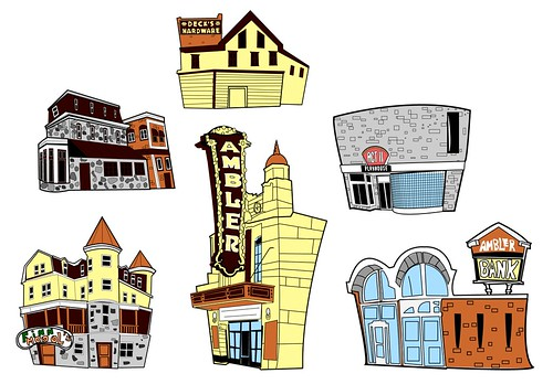 6 Illustrations of popular places in Ambler, PA.
