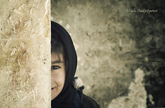 on the other side of the wall (Alieh) Tags: cute girl wall hijab shy afghan   afghanis aliehs alieh     saadatpour