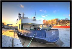 SSL M/S Asp (jeppe2) Tags: blue winter sunset red sky ice clouds suomi finland geotagged boat downtown ship turku wideangle ms motor talvi f4 hdr aurajoki pilvet keskusta sigma1020mm 10mm bo ssl laiva taivas aura asp riveraura photmatix capturenx nikond300