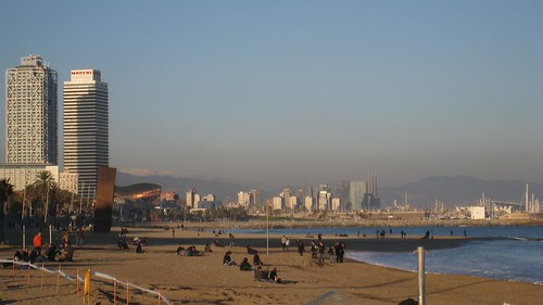 The beaches of Barcelona with the snow-capped Pyranees in the distance