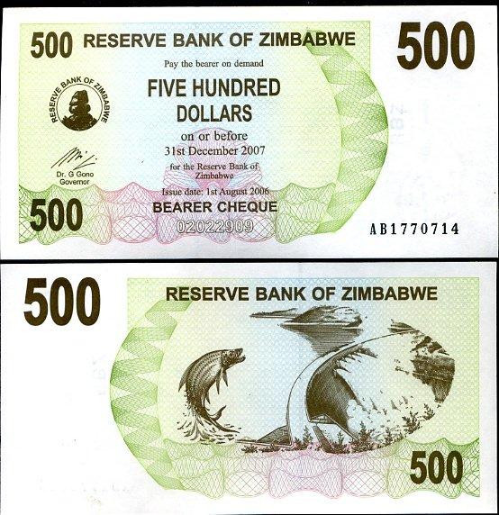 ZIMBABWE 500 DOLLARS BEARER CHEQUE 2006