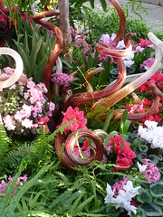 Twirling Glass (ginger1623) Tags: pink flowers flower chihuly glass twist twirl ferns