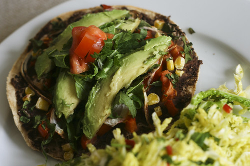 Black bean tostada with cabbage salad