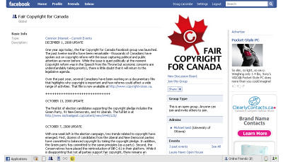 Facebook group Fair copyright for Canada