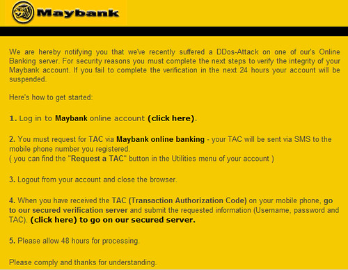 Maybank Phishing E-mail