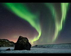 Solar Wind (orvaratli) Tags: travel sky lake cold green ice rock landscape star frozen iceland north aurora auroraborealis borealis icelandic kleifarvatn northernlight solarstorm magneticstorm earthandspace top20aurora competition:astrophoto=2009 lpsky arcticphoto rvaratli orvaratli