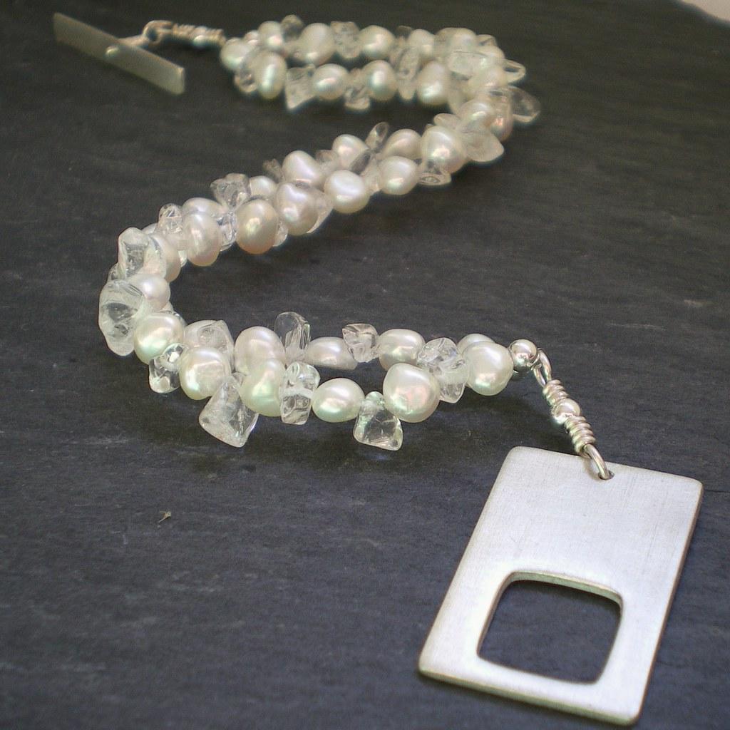 Pearl and Rock Quartz Silver Rectangle Clasp Bracelet