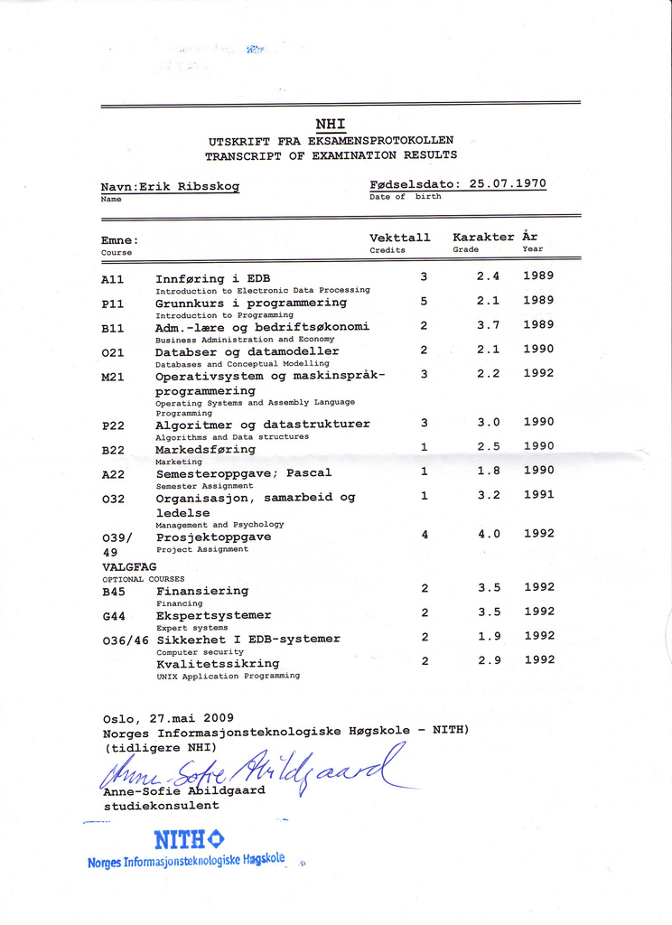 Examination Results NHI