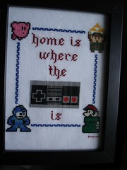 home is where the controller is (final framed) (Chickpea981) Tags: kirby crossstitch nintendo mario gift link zelda nes megaman 80skid oldschoolnes spritestitch nintendocrossstitch