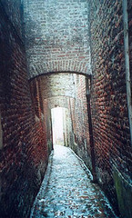 (Linden Tea) Tags: old france brick film analog alley cobblestone alleyway