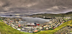 HDR-panorama over Hammerfest (Tor Even Mathisen) Tags: travel sunset sky panorama cloud reflection nature water norway rock clouds canon landscape geotagged long exposure paradise 5d hdr gass lng statoil finnmark hammerfest mkii aks turistua snøvhit tilfotoramme staoilhydro arktiskkultursenter